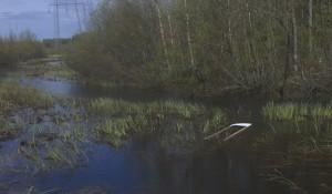 Kalamäen kosteikon esittelytaulu oli heitetty virtaavaan ojaan.