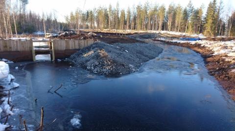 Vesi ohjataan aiemmin rakenntulla pääpadolla uuteeen uomaan (kuvassa oikealla)